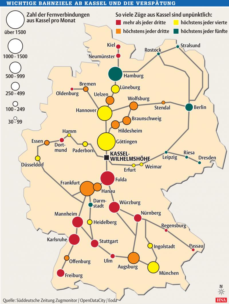 Verspätungen der Bahn am Zielort von Kassel Wilhelmshöhe (April-Juni 2012)