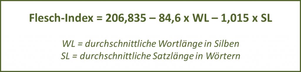 Berechnungsformel des Flesch-Index