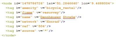 Ausschnitt aus dem XML-Dokument