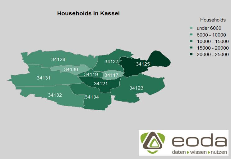 Kartenvisualisierung mit R - Haushaltsverteilung in Kassel