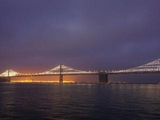 Panorama beim Conference Dinner: Die erleuchtete Bay Bridge