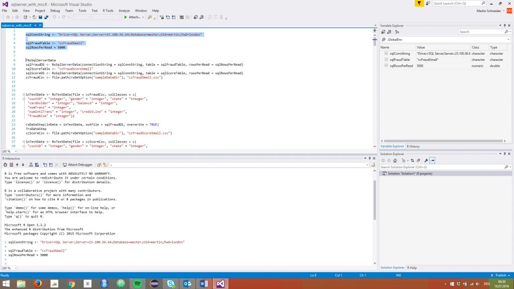 Screenshot: R-Tools for Visual Studio