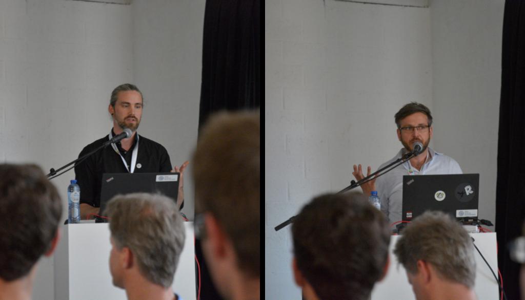Andreas Prawitt und Oliver Bracht während ihrer Vorträge auf der useR!2017.