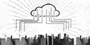 Data Science horizontale Skalierung, symbolisiert durch Skyline mit Data Cloud