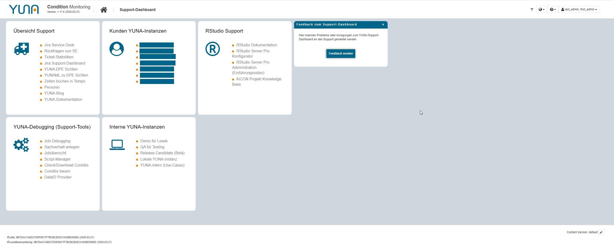dashboard data science plattform yuna