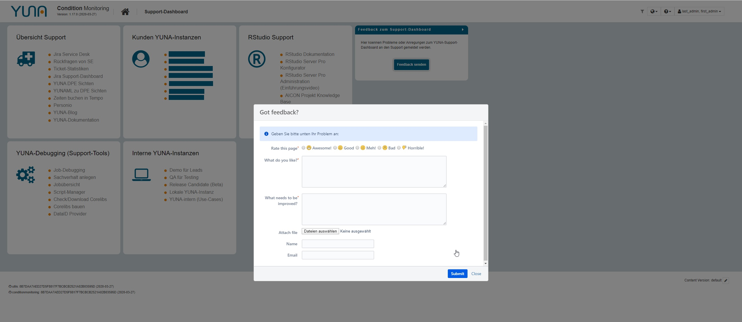 dashboard data science plattform yuna support3