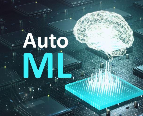 AutoML Schriftzug mit virtuellem neuronalen Netz