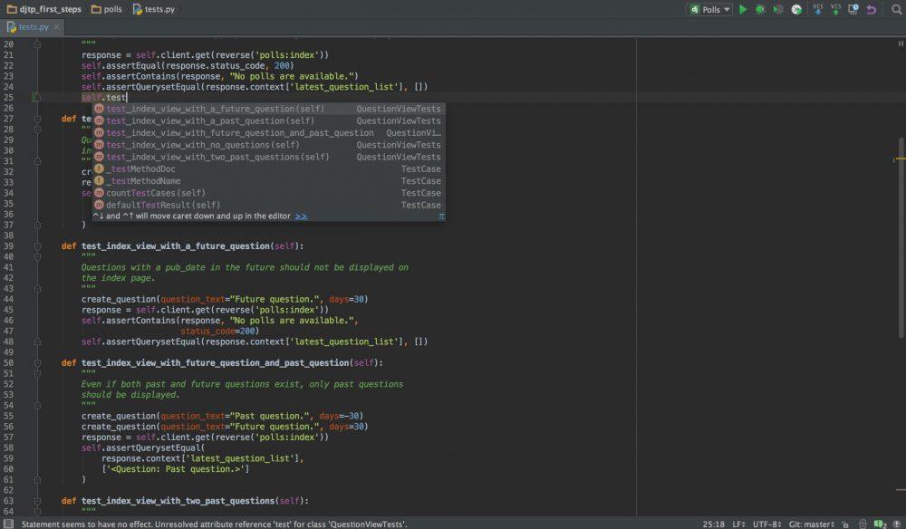 Screenshot der IDE PyCharm