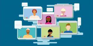 Monitore mit Akteuren von Web-Konferenzen