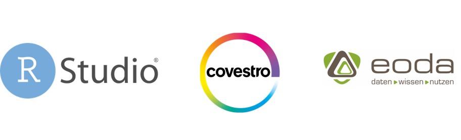 Logo Covestro, RStudio und eoda